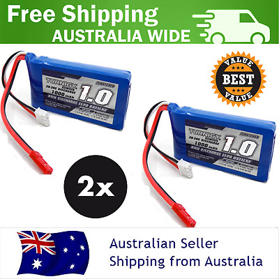 2 Pack Turnigy 1000mAh 2S 20C 7.4v Lipo Pack Battery RC Plane Helicopter Lithium
