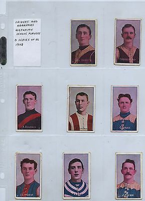 1908 SCARCE SNIDERS & ABRAHAMS 31 CIGARETTE CARDS VFL PLAYERS q76