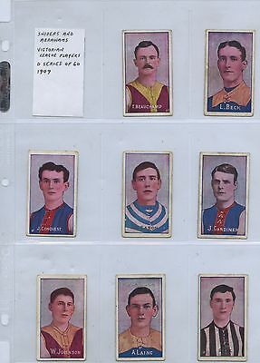 1909 SNIDERS & ABRAHAMS 13 CIGARETTE CARDS VFL PLAYERS (SET IS 60 CARDS) q77