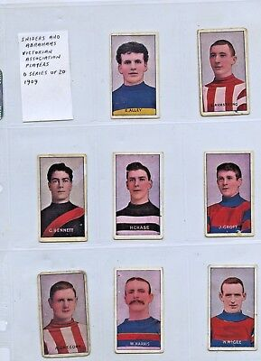 1909 SNIDERS & ABRAHAMS 11 CIGARETTE CARDS VFA PLAYERS (SET IS 20 CARDS) q78
