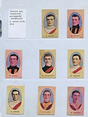 1910 SNIDERS & ABRAHAMS x15 CIGARETTE CARDS VFL PLAYERS AVERAGE CONDITION q79.