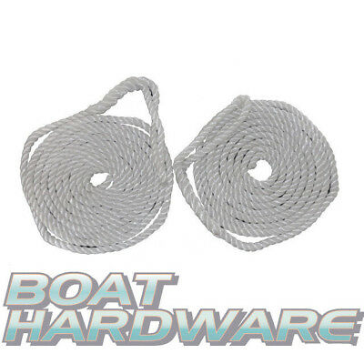 2 x Dock line Mooring rope 12mm x 6.5m Braid for Boat Fishing Yacht Jetski