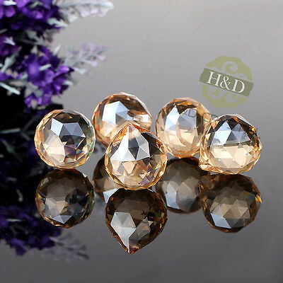 25 Champagne Glass Crystal Ball Prism Chandelier Lamp Parts Wedding DIY Pendant