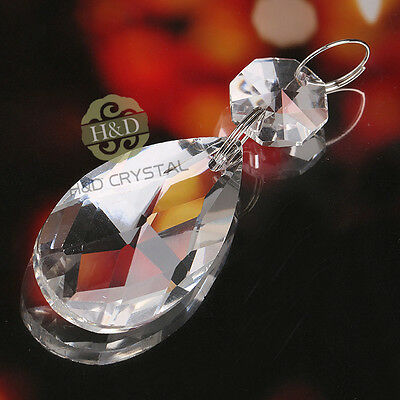 10pc Prism Silver Circle Pendant Teardrop Clear Crystal Chandelier Lamp Parts