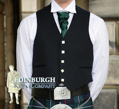 Scottish Prince Charlie 5-Button  Pure Wool Kilt Waistcoat / Vest- Size Options!
