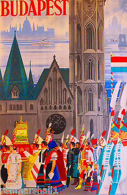 Hungary Hungarian Budapest European Europe Vintage Travel Advertisement Poster