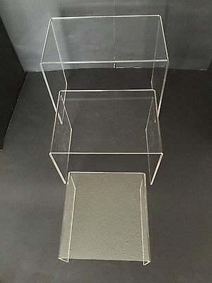 "Set of 3 Acrylic Plastic Clear Riser Stand To Display 6"" 8"" 10"" Fixtures Jewelry"