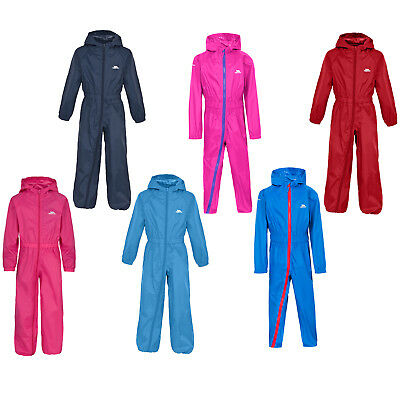 Kids Trespass Button Boys / Girls Waterproof Rainsuit All In One Suit