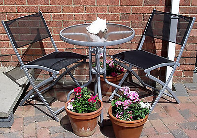 New Garden Furniture Patio Set Bistro Table & Two 2 Four 4 Folding Metal Chairs