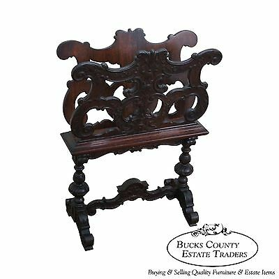 Antique 19th Century Carved Walnut Renaissance Magazine Stand Canterbury