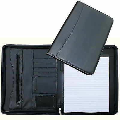 A4 Conference Folder Zipped Folio Case Leather Business Portfolio Organiser