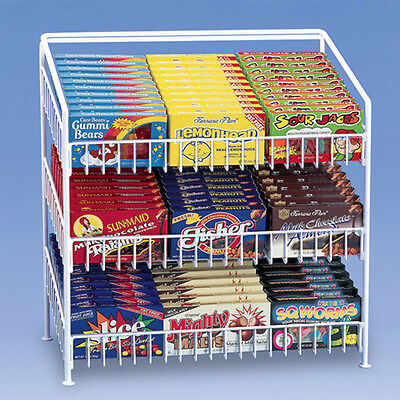 "3 Tier Shelf Counter Top Snack Potato Chip & Candy Display Rack 24"" H - White"