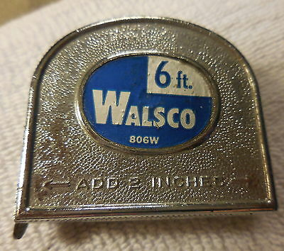 Vintage WALSCO 806W Tape Measure Measuring rule 6 foot ft Made In USA,tool