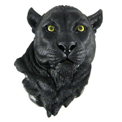 Large Black Panther Hanging Wall Bust Sculpture Figurine Hunter Trophy Statue