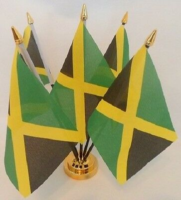 Jamaica Jamaican 5 Flag Flags Desktop Table Display Centrepiece Gold Base