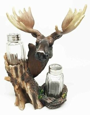 North American Grand Moose Salt and Pepper Shakers Holder Set Spice Racks Decor