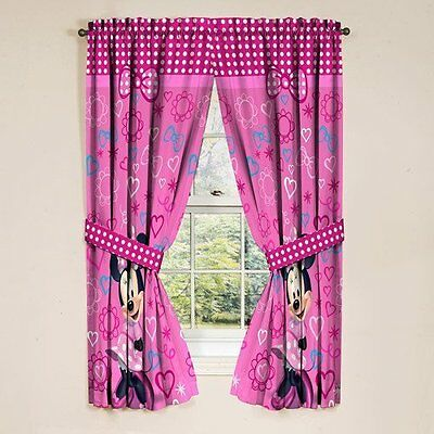 Disney Minnie Mouse Bow-Tique Curtains 1x1.6m each Pink Girls Room Decor