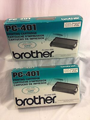 Lot of 2 Brother PC-401 Printing Cartridges Genuine Cartridge Toner NEW IN BOX