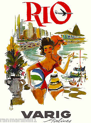 Rio de Janeiro Brazil Varig3 South America Vintage Travel Poster Advertisement