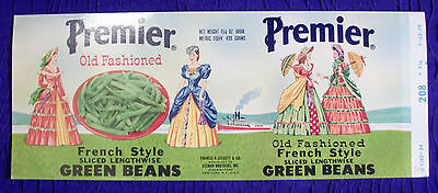 VINTAGE PREMIER OLD Fashion Green Beans Can Label - Preserved in plastic