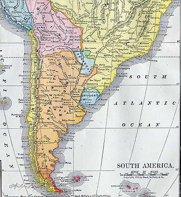 Antique Map South America Brazil Argentina Peru Columbia 1906 Chromo