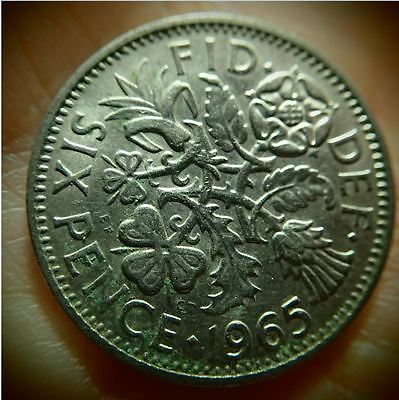 "1965 UK - Great Britain *Wedding Sixpence - ""Something Old Something New"""