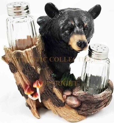 Black Bear Hiding Behind Tree Salt and Pepper Shakers Holder Decor Home Kitchen
