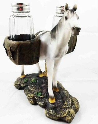 Saddlebags White Horse Equus Salt and Pepper Shakers Holder Decor Home Kitchen