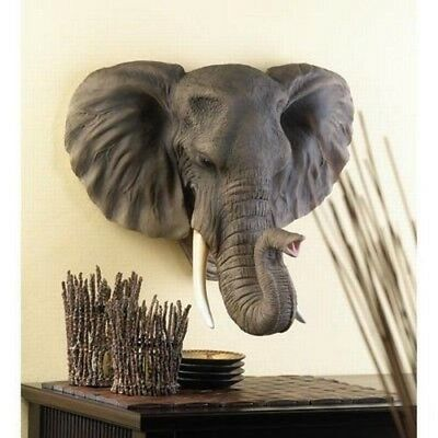Large Elephant Pachy Hanging Wall Bust Sculpture Figurine Hunter Trophy Statue