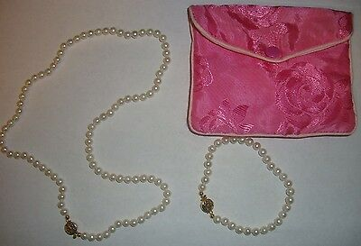 New Lee Sands White Pearl Necklace Bracelet 2 Pc Set With Pouch ~ Qvc