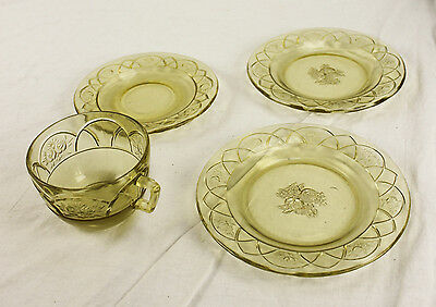 Lot of Sharon Cabbage Rose Yellow Depression Glass Bread Butter Desert Tea Cup
