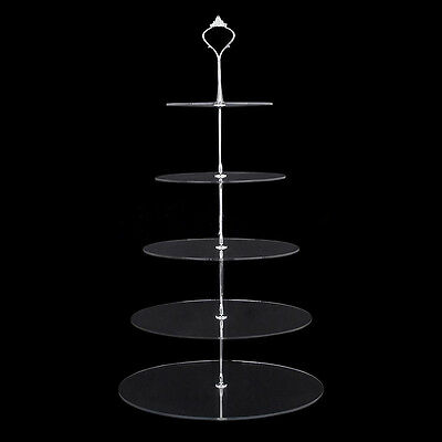 2 3 4 5 Tiers Circle Acrylic Cupcake Party Wedding Cake Stand Decorating Carry