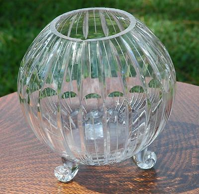 Mid Century Art Glass Tri-Footed Center Bowl With Stripes & Circles - Rim Chips