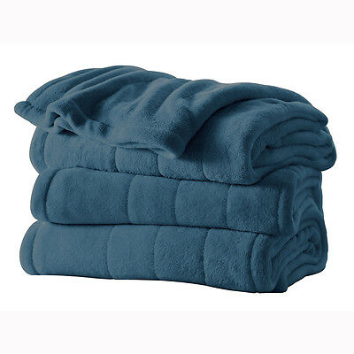 Sunbeam Luxury Collection Channeled Microplush King-Size Heated Blanket (Azure)