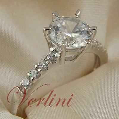 VERLINI 2Ct Round Cut Engagement Ring HQ Cubic Zirconia in 925 Silver Size 5-10