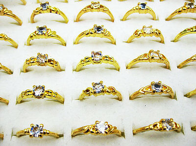 wholesale lots jewelry 30pcs rhinestone gold Plated Rings New free shipping J135