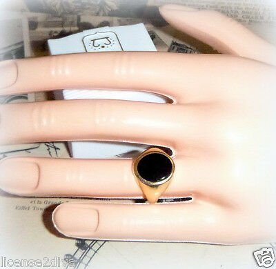 Fine Yellow Gold 9Ct Bezel Set Vintage Art Deco Onyx Ring Mint Condition True