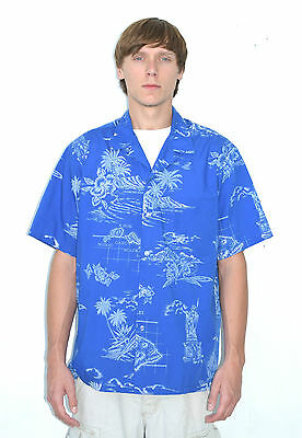 Vintage 70's Men's Blue Flower Aloha Hawaiian Shirt - Made in Hawaii Size L/XL