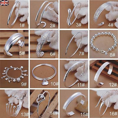 Trendy Women Men 925 Sterling Silver Plated Charm Bangle Cuff Bracelets