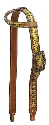 Showman Lime Filigree Print Belt Style Headstall with Antique Bronze Hardware