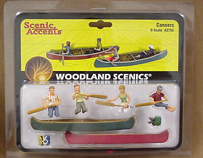 O scale CANOERS Woodland Scenics Scenery canoe & people # 2755