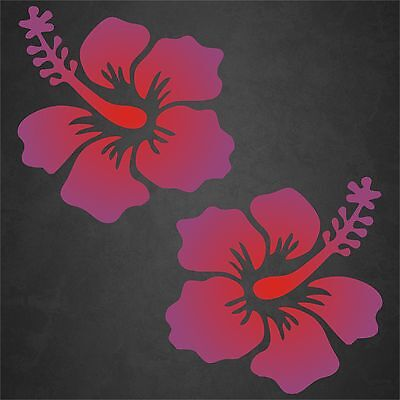 2 Hibiscus Flower Decal Purple Red Hawaiian Vinyl Graphics Decal Sticker Car