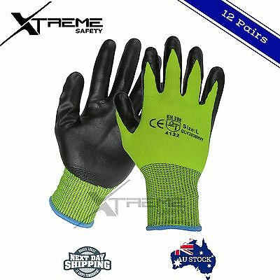 12 Safety Gloves Hi Vis Nitrile General Purpose Mechanical Work Gloves