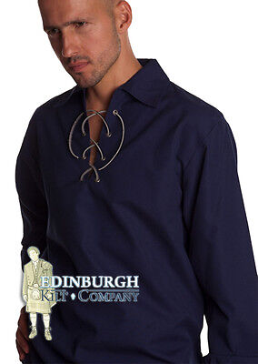 Gents' Scottish Deluxe Ghillie Shirt - Jacobean Style - Navy Blue