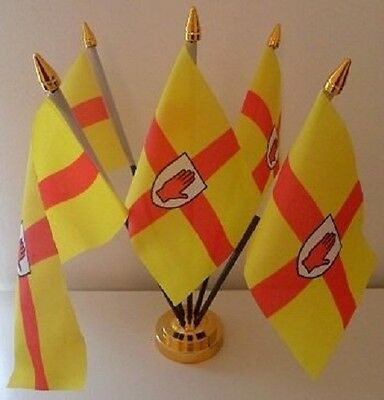 Ulster Northern Ireland 5 Flag Flags Table Display Centrepiece With Gold Base