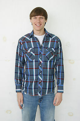 Vintage Men's 80's 90's Plaid Western Shirt by Wrangler Western Size Medium