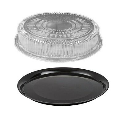 "12"" Flat Black Plastic Catering Tray w/Dome Lid 10 Sets - Disposable Party Trays"