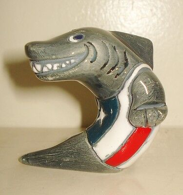 Vintage Art Pottery Shark Figurine Colorful Pattern