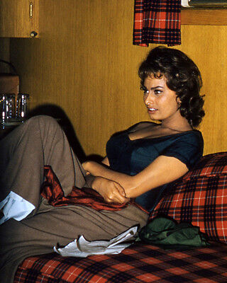 Sophia Loren 16X20 Photo Rare Stunning In Black Top On Couch 1950's