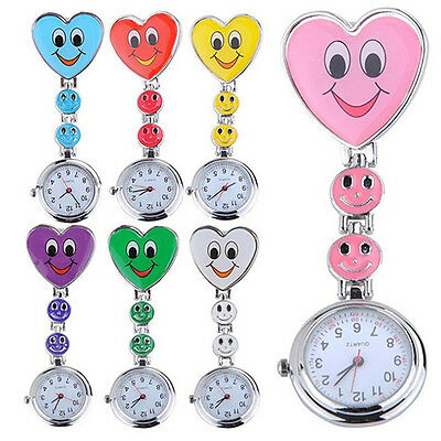 Dashing Women's Smiling Face Heart Clip-On Pendant Nurse Fob Brooch Pocket Watch